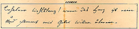 Sample of Mezzofanti's handwriting in German : Click to enlarge picture