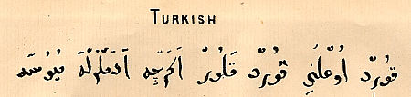 Sample of Mezzofanti's handwriting in Turkish : Click to enlarge picture